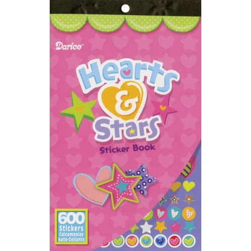 "Sticker Book 9-1/2""X6""-Hearts & Stars-600 Stickers"