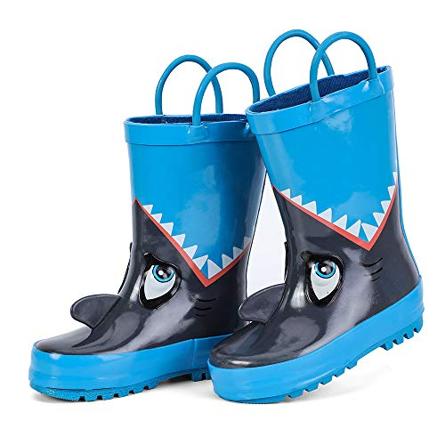 hiitave Kids Toddler Waterproof Rubber Rain Boot for Boys Girls with Easy Pull On Handles Blue/Shark 10 M US Toddler ()