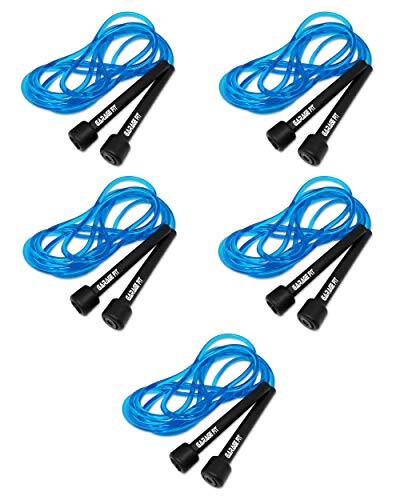 Garage Fit 9' Adjustable PVC Jump Rope for Cardio Fitness - Versatile Jump Rope for Both Kids and Adults - Great Jump Rope for Exercise (Bundle of 5 Blue Ropes)