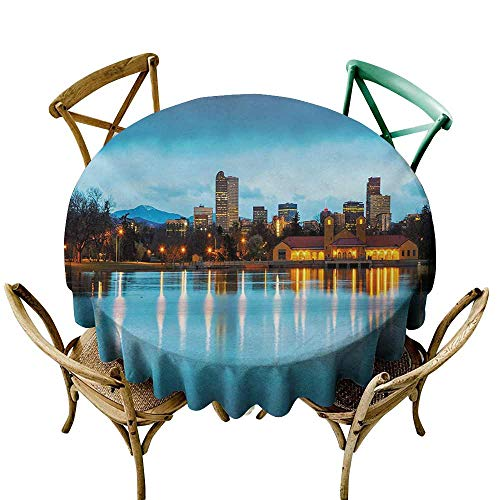 SKDSArts Round Tablecloth Urban,Downtown Denver Ferril Lake Colorado at The Morning City Park Capital,Sky Blue Yellow Orange D54,Table Cloth Cover Wedding Event Party ()