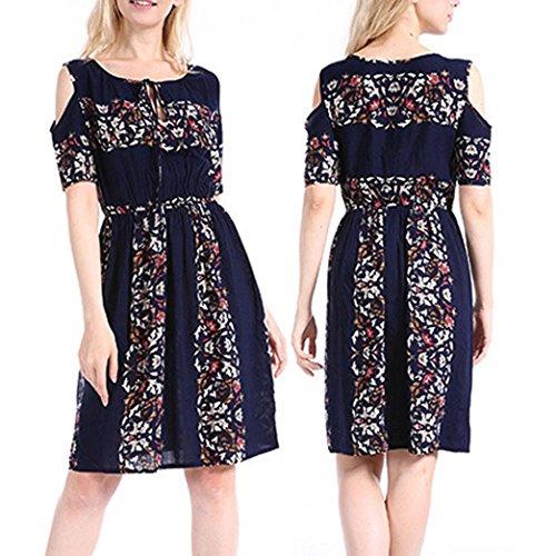 UFACE Damen Kleid Print Vintage FolkCustom Rockabilly trägerlosen ...