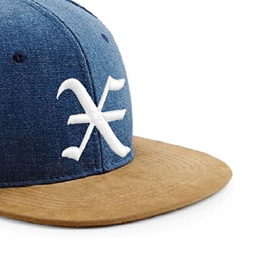 de J de tela X logo estilo ante béisbol letra gótico con Gorra en 3D y Multicolor Snapback con diseño T5ptCnqw5B
