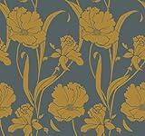 St. James / York Stacy Garcia Luxury Wallpapers II GS4779 Parisian Poppy Wallpaper, Grey, Yellow