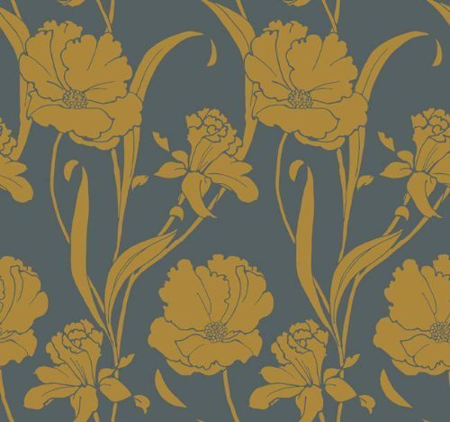St. James / York Stacy Garcia Luxury Wallpapers II GS4779 Parisian Poppy Wallpaper, Grey, Yellow