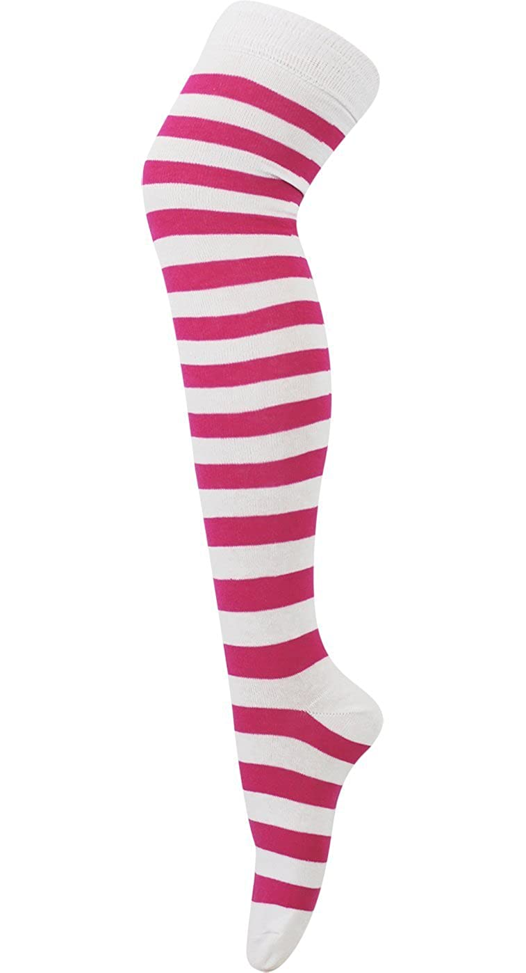 AXTokyo Women's Striped Over The Knee High Socks Fancy Dress