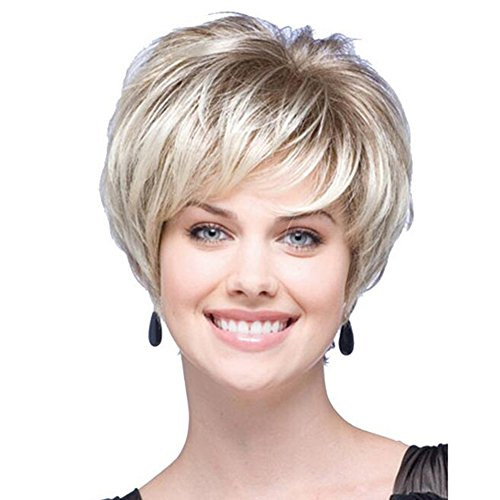 - 2017 Summer Western Women Inclined Bang Short Straight Hair Wig Blond Brown Mixed Color Perfect Synthetic for Female New Style