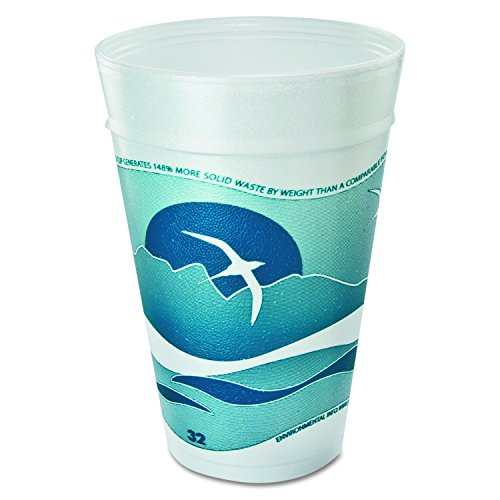 (Dart 32TJ32H Horizon Foam Cup, Hot/Cold, 32 oz., Printed, Aqua/White, 25 Per Bag (Case of 20 Bags))