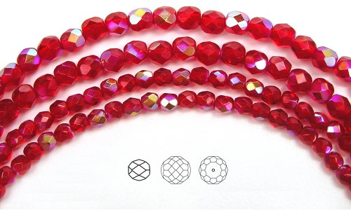 4mm (102) Light Siam AB coated, Czech Fire Polished Round Faceted Glass Beads, 16 inch strand