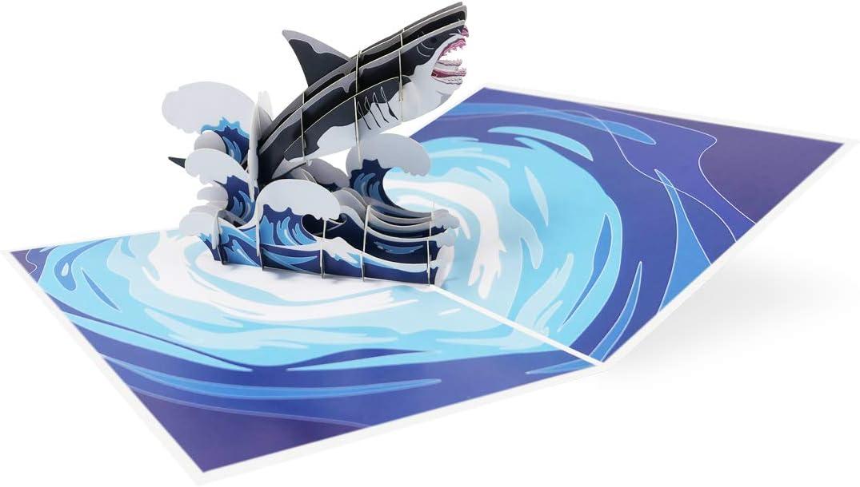 Requin//M/égalodon Carte de voeux 3D pop up pour anniversaire f/élicitations invitation bon animal mer oc/éan Sweetpopup