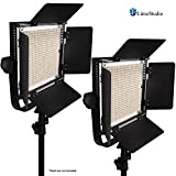 LimoStudio 2-Pack LED 600 Photographic Lighting Panel with Digital Display Screen, Photo Studio Barndoor Light, Continuous Video Light, Brightness Control Available with Cleaning Cloth, AGG2384