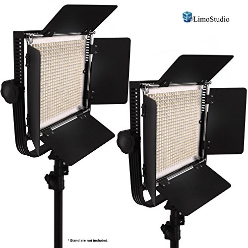 LimoStudio 2-Pack LED 600 Photographic Lighting Panel with Digital Display Screen, Photo Studio Barndoor Light, Continuous Video Light, Brightness Control Available with Cleaning Cloth, AGG2384 by LimoStudio