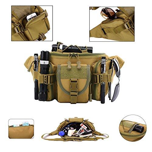 Cinturón de Cintura para de Mochila Herramientas Riñoneras para Pecho Hombre Marron Hombre AZXES para Táctical Bolsos Bolsa gq18TTxwRp