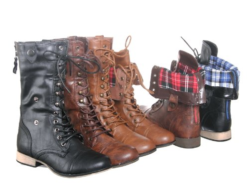 New! Women's Multicolor Mid Calf Lace up/Zip Military Combat Boot with Fold-Over Cuff