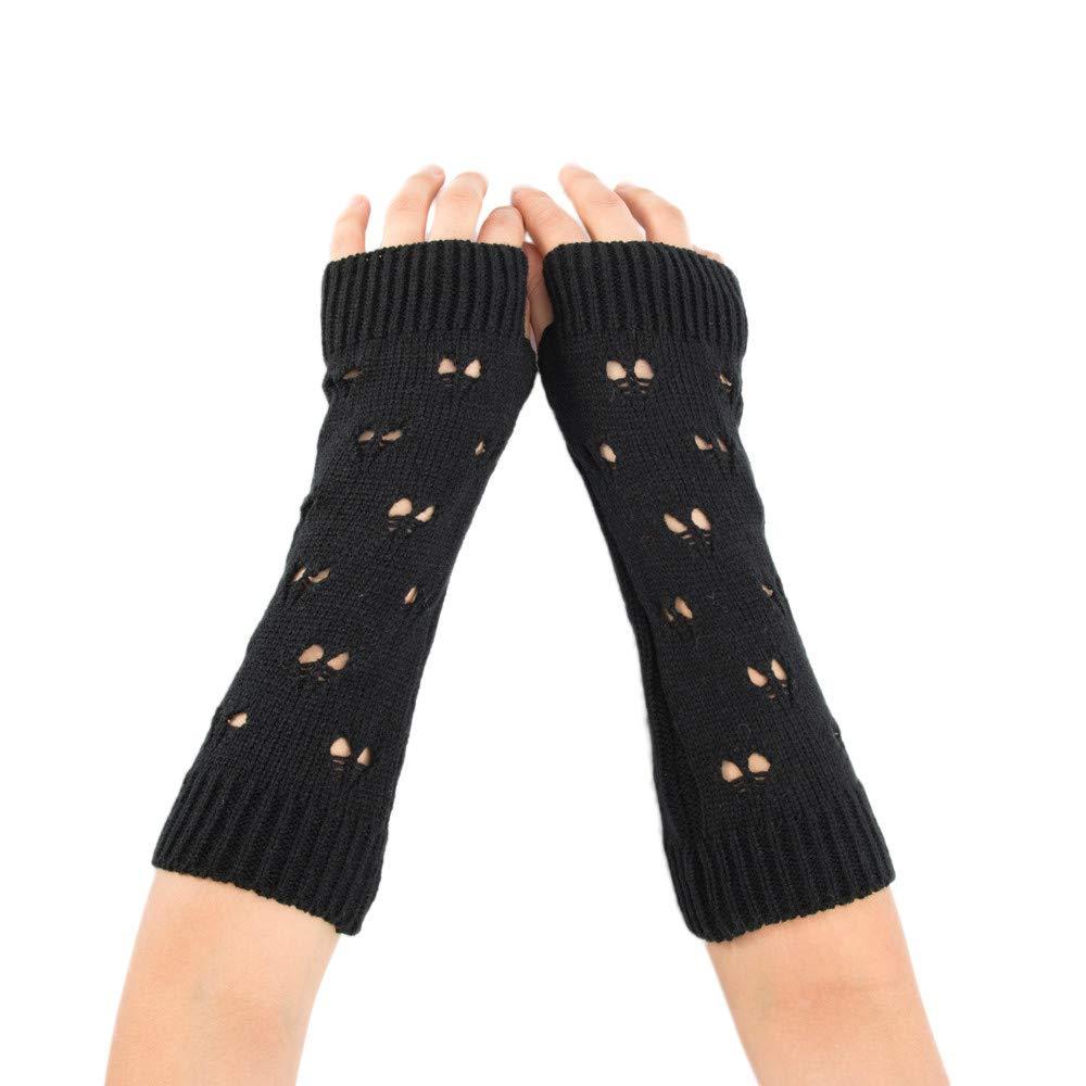 Chaofanjiancai Clearance Fashion Women Winter Wrist Arm Warmer Solid Knitted Long Fingerless Gloves Mitten