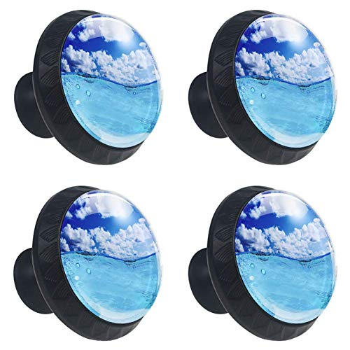 (Idealiy Blue Sunny Sky Drawer Knob Pull Handle Cupboard Knobs with Screws 4pcs)