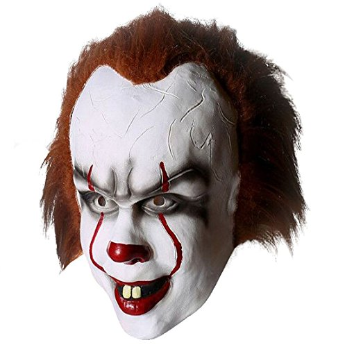 Stephen King It Costume (Yacn clown halloween mask for men ,2017 creepy halloween face mask for adult-Stephen King's mask |Penny wise halloween scary mask latex mask scary costume cosplay decorations (Penny wise))