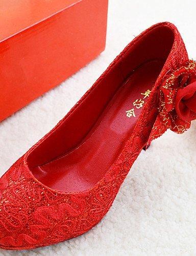 2in Absätze Hochzeitsschuhe Rundeschuh Geschlossene Damen ShangYi Heels Hochzeit Zehe Rot High vqB6WpWnS