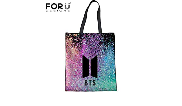 Amazon.com: FORUDESIGNS Fashion BTS Linen Tote Bags Casual Travel Beach Handbags Women Eco Shopping Bag Students Girls School Shoulder Bag Color H9704Z22: ...