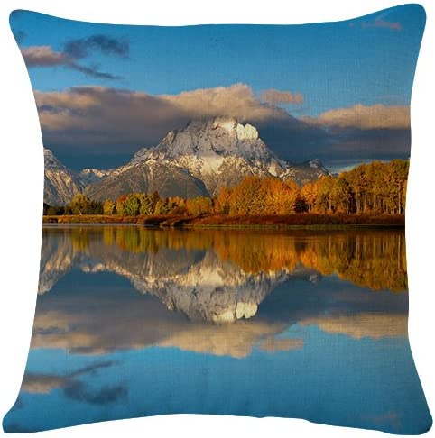 Amazon Com Grand Teton National Park United States Wyoming Beautiful Landscape Throw Pillow Case Cushion Cover For Sofa Couch Double Sided Printing 18x18 Inches Home Kitchen