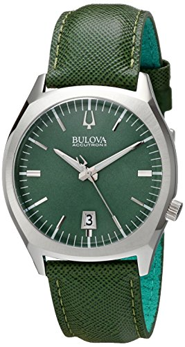 Accutron II Stainless Steel Watch with Green Leather Band (Accutron Band Wrist Watch)