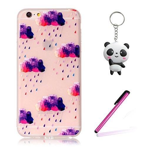 iPhone 6 Plus / 6S Plus Coque,3D Nuages violets Premium Gel TPU Souple Silicone Transparent Clair Bumper Protection Housse Arrière Étui Pour Apple iPhone 6 Plus / 6S Plus + Deux cadeau