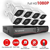 [2017 Newest] Firstrend 8CH POE NVR Security Camera System with 8x 1080P HD Security Camera, Plug and Play Security System with Pre-installed 2TB Hard Drive, Free APP and Night Vision