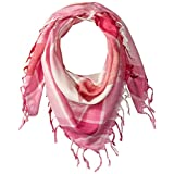 La Fiorentina Women's Plaid Checkered Scarf with Fringe, Pink, One Size