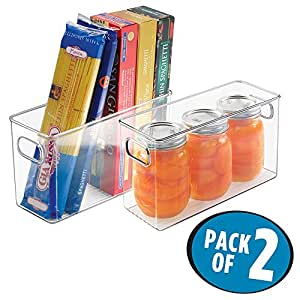 """mDesign Refrigerator, Freezer, Pantry Cabinet Organizer Bins for Kitchen, 10"""" x 4"""" x 6"""", Pack of 2, Clear"""