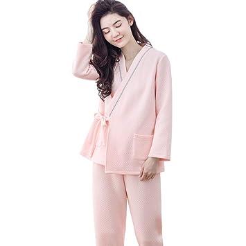 3d3ed7d4f Pijamas Mujer Embarazada Pijamas Embarazo Algodón Ropa de Noche Suelta  Maternidad Color sólido Mangas largas Ropa de Dormir Ropa de Lactancia  Regalo de Las ...