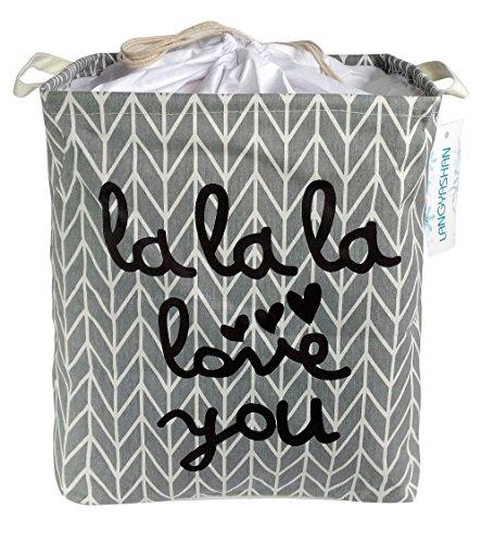 Large Storage Bin,Ramie Cotton/Canvas Fabric Folding Storage Basket with Handles- Toy Box/Toy Storage/Toy Organizer for Boys and Girls - Laundry Basket/Nursery Hamper (Grey lala)