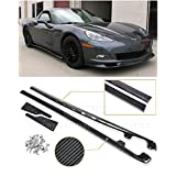 Extreme Online Store Replacement for 2005-2013 Chevrolet Corvette C6 Base Models | ZR1 Style Side Skirts Rocker Panels Extension with Mud Flaps Pair (Carbon Fiber)