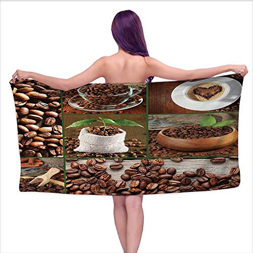 Glifporia Bath Towel 3D Digital Printing Set Brown,Collage of Coffee Beans in Cups and Bags with Green Leaves on Wooden Table Photo,Brown Green,W28 xL55 for Kids Mickey Mouse