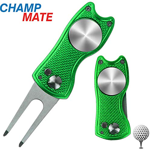 CHAMPMATE Pop-up Button Stainless Steel Switchblade Golf Divot Repair Tool Foldable Magnetic & Detachable Golf Ball Marker (Green 1 pcs)