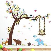 Animoeco Animal Wall Stickers Monkey Bear Owls Elephant...
