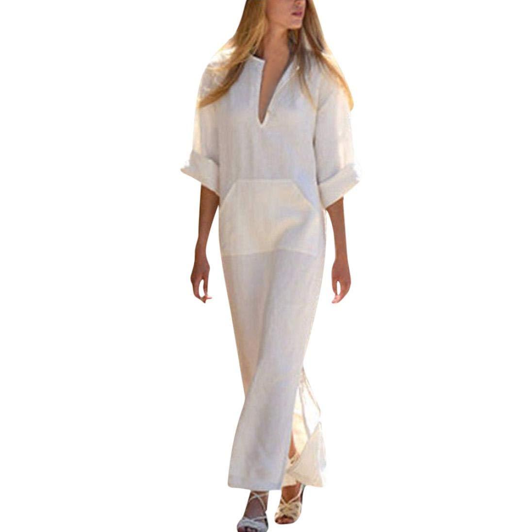 REYO ♥ [M-3XL] Clearance Sale Women's Dresses V-neckline Loose Pocket Dress Long Sleeve Mini Dress