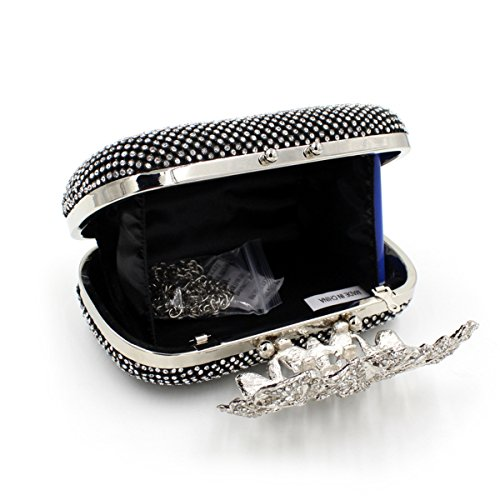 Clutch Prom Unique Diamante Party Bridal Silver Clasp bag Purse Evening Silver Diamond Crystal Noir q11Sw0TPx