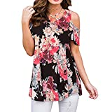 Handyulong Womens Shirts Short Sleeve Summer Casual Cold Shoulder Floral Print Tunic T-Shirts Blouse Tops for Teen Girls