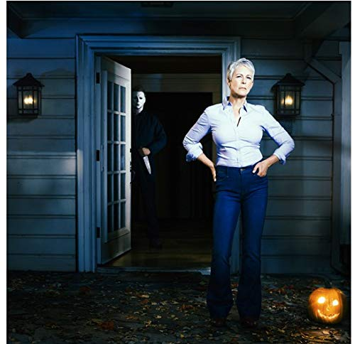 Halloween Jamie Lee Curtis in original film outfit on porch with Michael Myers in house close up 8 x 10 Inch Photo -