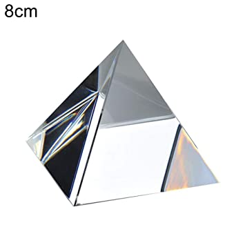 60mm Clear Crystal Glass Pyramid Prism Craft Statue Home Decor Paperweight