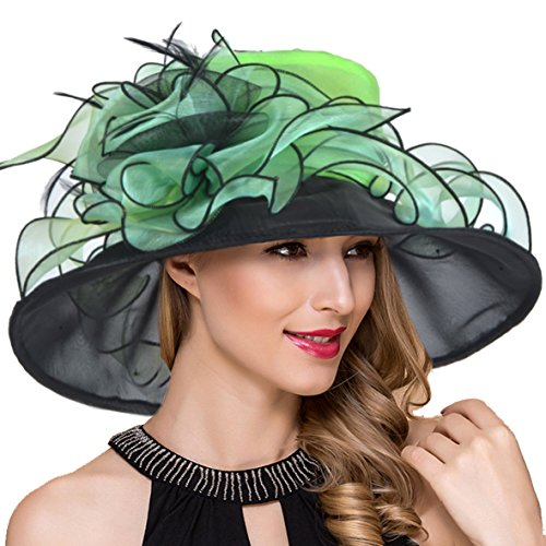 Women Organza Kentucky Derby Church Dress Fascinator Wide Brim Wedding Tea Party Hats (Floral Green)