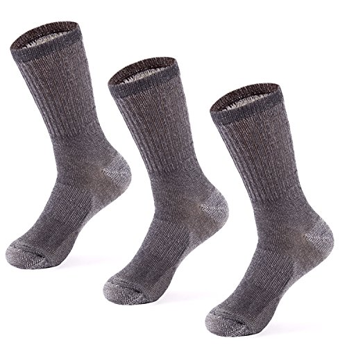 Blend Sock Boot (MERIWOOL Merino Wool Blend Outdoor and Boot Crew Socks Pack of 3 Pairs - Large/Gray)