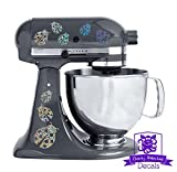 Ladybug Patterned Kitchen Stand Mixer Front/Back Decal Set - Silver Metal Flake