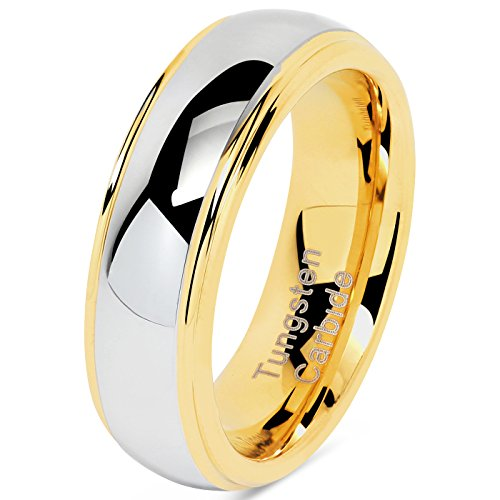 6mm Tungsten Rings For Men Women Wedding Band Two Tones Gold Silver Engagement Size 6-16 With Half Sizes Available (9)