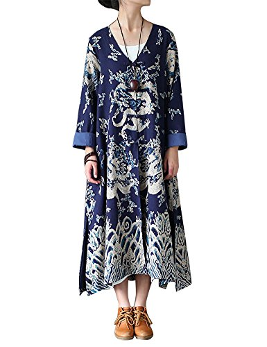 IDEALSANXUN Women's Chinese Ethnic Dragon Pattern Cotton Linen Long Trench Coat Printed Jacket With Pocket (Dark Blue, Free (Free Coat Patterns)