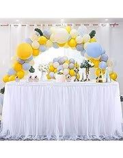 MineSha Tafelrok van tule, handgemaakt, 2 niveaus, 3 lagen, zacht netweefsel, tutu, tafelrok voor feest, bruiloft, verjaardag, babyfeestdecoratie