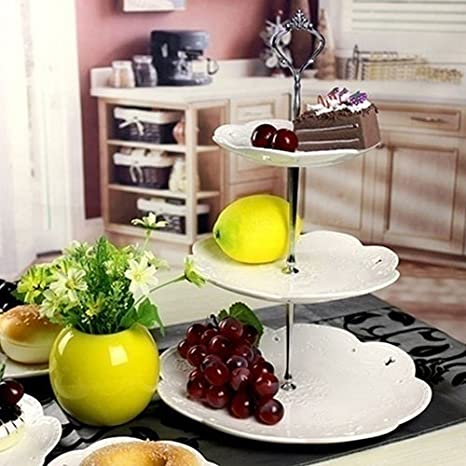 Fuente para pasteles de tres pisos de display08, estilo corona, para pasteles, de pie, con asa, para decoración de la mesa en bodas, acero inoxidable, ...
