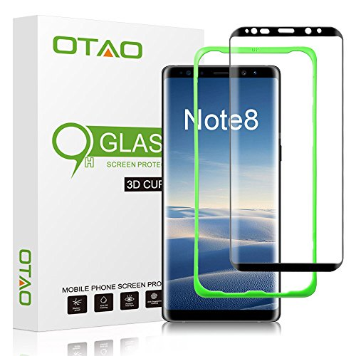 OTAO Galaxy Note 8 Tempered Glass Screen Protector (Full Screen Coverage), [Tray Installation] OTAO Double Strong 3D Curved Screen Protector for Samsung Galaxy Note 8 by OTAO