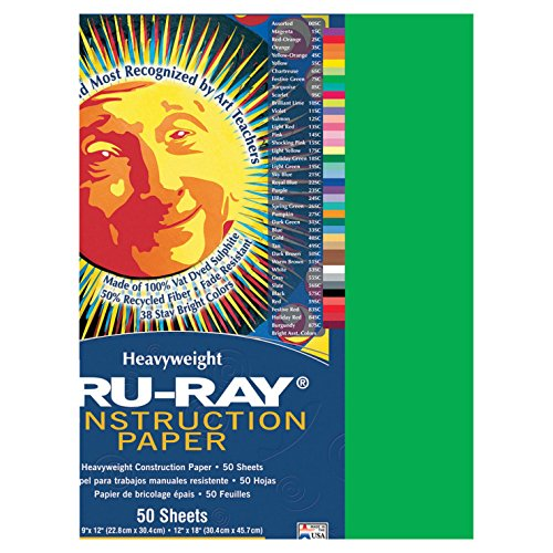 Pacon Tru-Ray Construction Paper, 12-Inches by 18-Inches, 50-Count, Festive Green (103038)