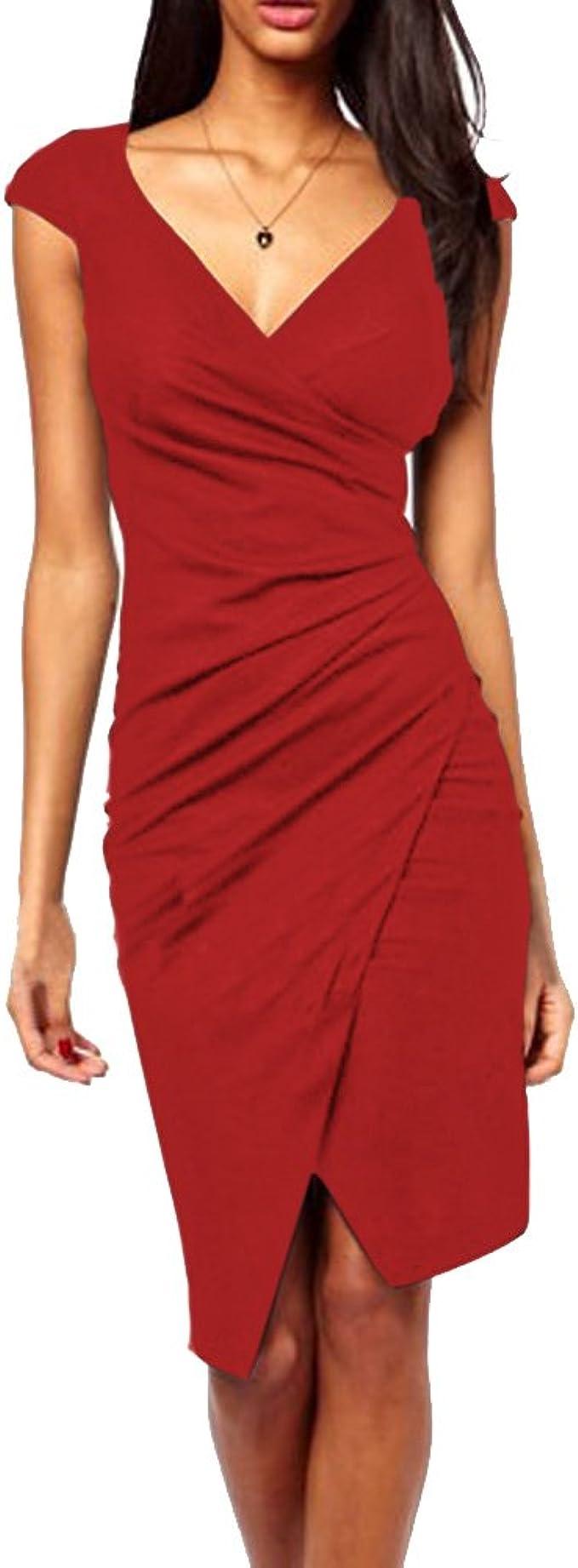 Robe mi longue moulante cape col V élégante soirée rouge