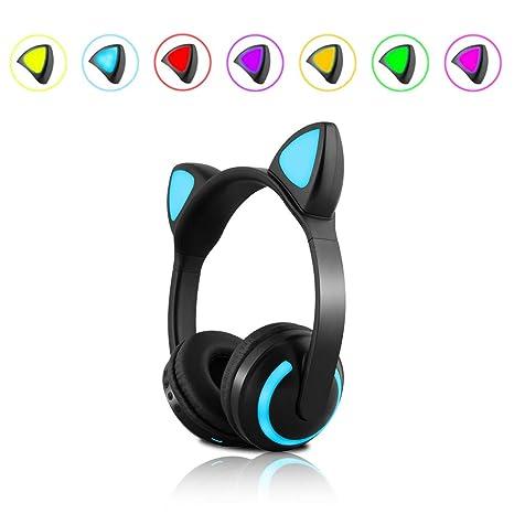 NORMIA RITA Auriculares de Oreja de Gato 7 Colores LED luz Intermitente, Auriculares inalámbricos Bluetooth